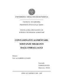 contaminanti alimentari: sostanze migranti dagli imballaggi
