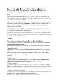 Rime di Guido Cavalcanti, analisi generale e di alcuni componimenti, Sintesi di Filologia italiana