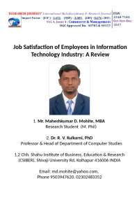 Job Satisfaction of Employees in Information Technology Industry: A Review