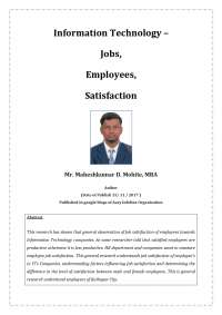 Information Technology – Jobs, Employees, Satisfaction