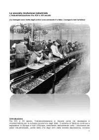 Riassunto seconda rivoluzione industriale