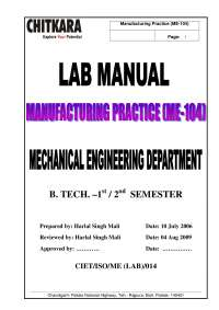 workshop manual for mechanical engineering first year students