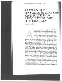 Alexander Hamilton: Slavery and Pace in a Revolutionary Generation