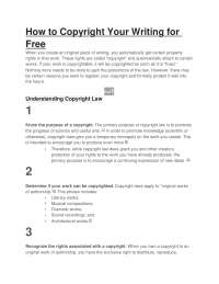 How to Copyright Your Writing for Free