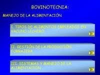 Bovinotecnia, manejo de la alimentación