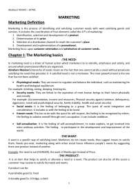 Introduction to Marketing - Lecture Notes