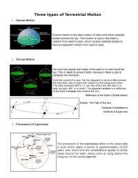 Three Types of Terrestrial Motion