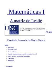 La matriz de Leslie