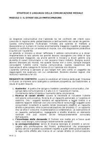 Dispensa Strategie e Linguaggi della comunicazione, Prof. Fanchi.