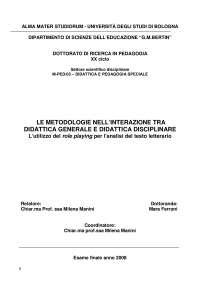 Tesi Ferroni su didattica insegnamento