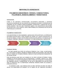 POLIMEROS MODERNOS: VERDES, CONDUCTORES, FULERENOS, NANOALEMBRES Y NANOTUBOS