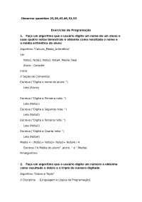 75  Exercícios e respostas da lista de programação em visual g