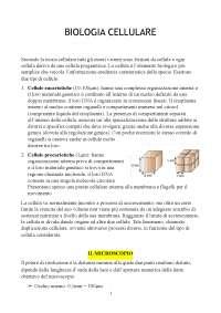 BIOLOGIA CELLULARE - appunti