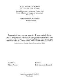"""Metodologia per il progetto di gallerie del vento con applicazione al """"Long Pipe"""""""