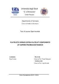 PLATELETS VERSUS EXTRA-PLATELET COMPONENTS OF ASPIRIN  PHARMACODYNAMICS