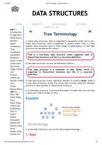 Tree data structures terminology