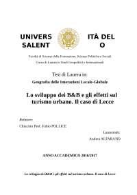 Lo sviluppo dei B&B e gli effetti sul turismo urbano. Il caso di Lecce