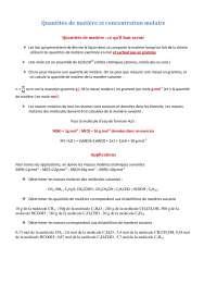 calcul de la quantité de matière