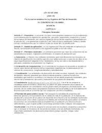 ley 152 de 1994, ley organica de aplicacion del plan de desarrollo