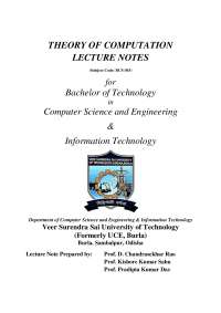 Theory of Automata Detailed Topic-wise Lecture Notes