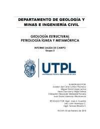 Informe de salida de campo por la provincia de Loja