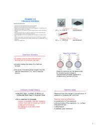 Chemical kinematics