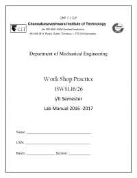 Work shop manual for engineering students