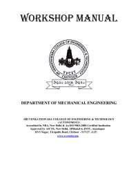 Work shop manual for marine engineering student