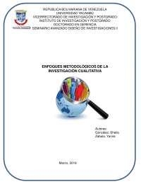 Enfoques metodológicos de la investigación cualitativa