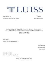 OFFSHORING E RESHORING: DUE FENOMENI A CONFRONTO