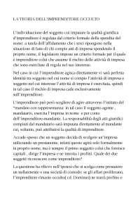 LA TEORIA DELL'IMPRENDITORE OCCULTO DI W.BIGIAVI E CRITICA CAMPOBASSO, Sintesi di Diritto Commerciale