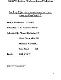 Lack of communication report