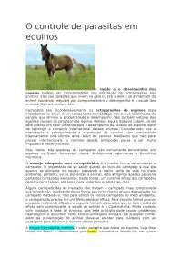 Controle de parasitas em equinos