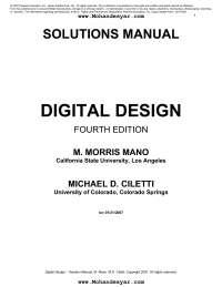 Digital Logic Design by Morris Mano (Solution)