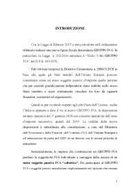 Tesi sul diritto tributario riguardante la figura del gruppo iva