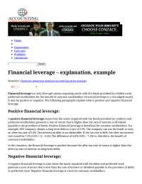 Financial Leverage- Accounting for management