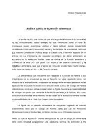 Análisis Critico de la Pensión Alimentaria en Costa Rica.