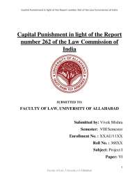 Capital Punishment in light of the Report number 262 of the Law Commission of India