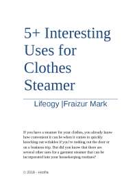 Fabric Steamer For Clothes Stand