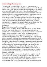 Tema/ appunti sulla globalizzazione