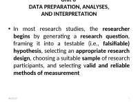 DATA PREPARATION, ANALYSES,AND INTERPRETATION
