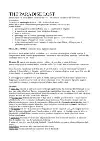 PARADISE LOST - JOHN MILTON trama dettagliata, analisi dell'opera + PARADISE REGAINED, Appunti di Letteratura Inglese