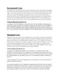 Incremental Costs Marginal Costs Marginal Costs, Exercises for Economics