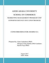 consumer behavior addis ababa university