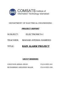 Project report of rain sensor project
