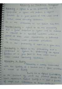 Reliability Maintanenace and Managment Notes GGSIPU