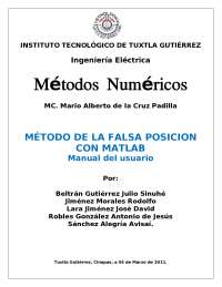 Falsa posicion Matlab  Metodos Numericos