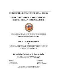 le politiche linguistiche della Spagna dalla costituzione del 1978 ad oggi