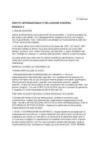 DIRITTO DELLA COMUNITÀ INTERNAZIONALE E DELL'UNIONE EUROPEA