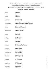 esercizi trascrizione fonetica